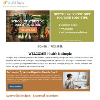 Joyful Belly School of Ayurveda - Diet, Recipes & Digestion