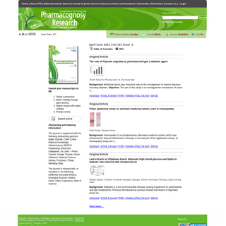 Pharmacognosy Research - Free full text articles from Phcog Res