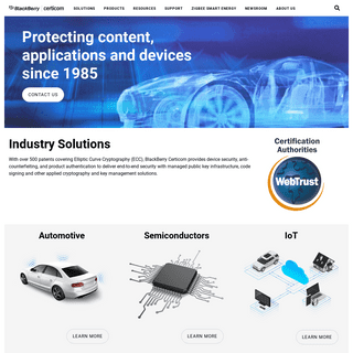BlackBerry Certicom Official Home Page - Protecting content, applications and devices since 1985