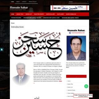 Hussain Sahar – All about Poet Hussain Sahar