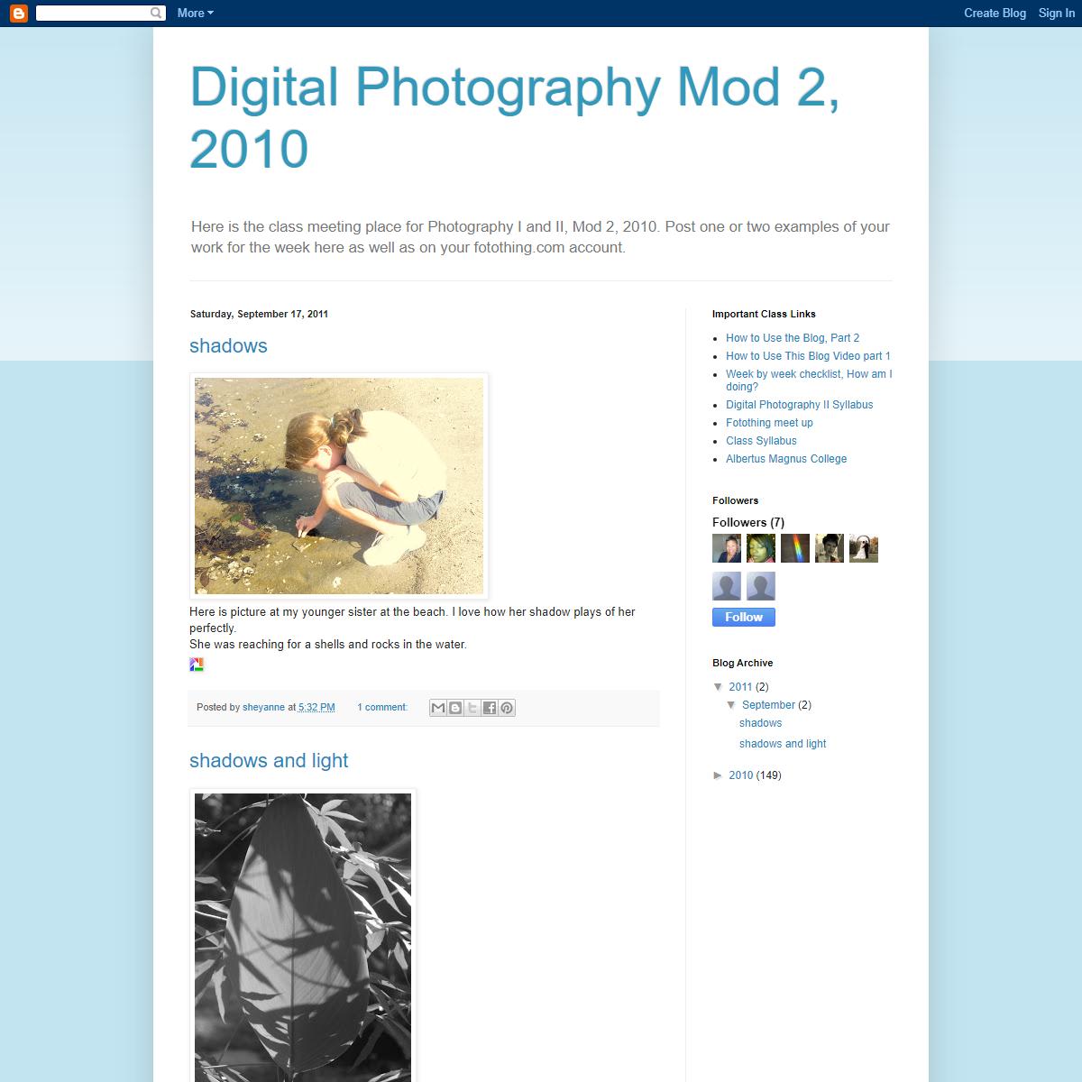 Digital Photography Mod 2, 2010