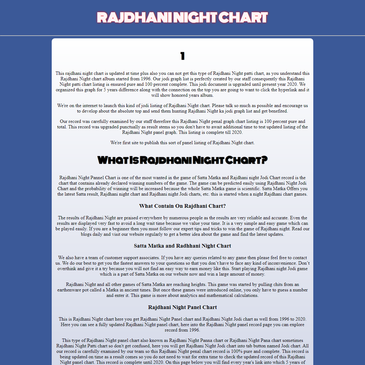 Rajdhani Night Matka Jodi Chart, Rajdhani Night Penal Panel Chart