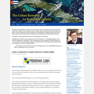 The Cuban Economy – La Economía Cubana