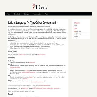 Idris- A Language for Type-Driven Development