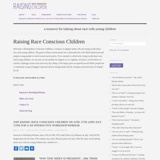 Raising Race Conscious Children - Resource for Talking About Race & Diversity
