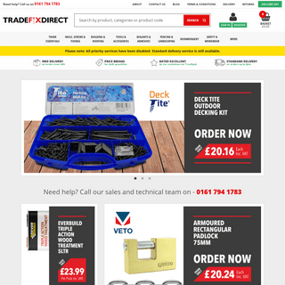 Fasteners and Fixings - Next Day Delivery from Tradefix Direct